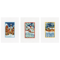 Miniatures Winter Night (Set of 3) Counted Cross Stitch Kit By Vervaco