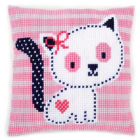 Chunky Cross Stitch Cushion: Kitten on Pink Kit By Vervaco