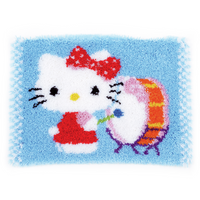 Hello Kitty Drumming Latch Hook Rug: By Vervaco