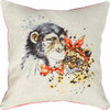 Chimp and Cheetah Pillow  Cross Stitch Kit By Luca S