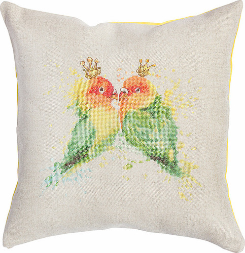 Paraqueet Pillow  Cross Stitch Kit By Luca S