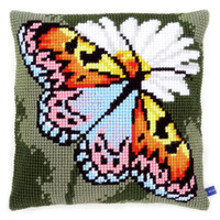 Butterfly on Daisy Chunky Cross Stitch Cushion Kit By Vervaco