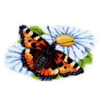 Butterfly on Daisy  Latch Hook Rug Kit By Vervaco