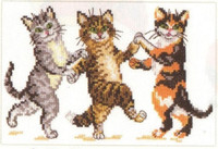 Dancing Cats Cross Stitch Kit by Alisa