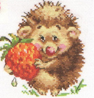 Hedgehog with Strawberries Cross Stitch Kit by Alisa