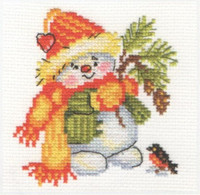 Little snowman Cross Stitch Kit by Alisa