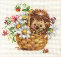 Hedgehog in daisies Cross Stitch Kit by Alisa