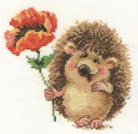 Hedgehog with Poppy Cross Stitch Kit by Alisa