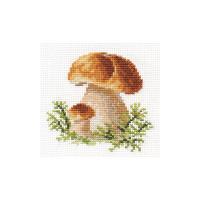 White Mushrooms Cross Stitch Kit by Alisa