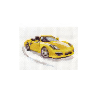 Yellow Sportcar Cross Stitch Kit by Alisa