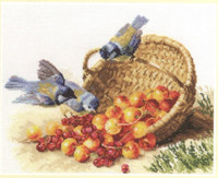 Chickadees and Sweet Cherries Cross Stitch Kit by Alisa