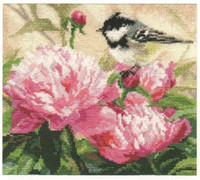 Titmouse and Peonies Cross Stitch Kit by Alisa