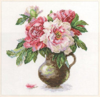 Blooming garden - Peonies Cross Stitch Kit by Alisa