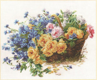 Roses and Cornflowers Cross Stitch Kit by Alisa
