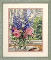 Peonies And Delphiniums Cross Stitch Kit