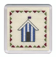 Beach Huts Coaster (Blue Stripe) Cross Stitch Kit by Textile Heritage