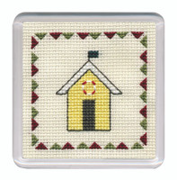Beach Huts Coaster (Yellow) Cross Stitch Kit by Textile Heritage