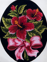 Hibiscus Bow Tapestry Canvas By Grafitec