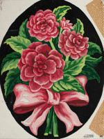 Peonies Bow Tapestry Canvas By Grafitec