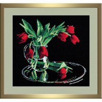 Tulips in the Black Cross Stitch Kit by Oven