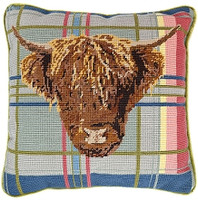 Highland Cow on Tartan 14'' Tapestry Cushion Kit