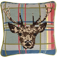 Highland Stag on Tartan 14'' Tapestry Cushion Kit
