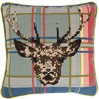 Highland Stag on Tartan 14'' Tapestry Cushion Kit