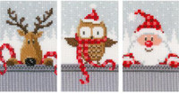 Counted Cross Stitch Greeting Cards: Xmas Buddies I  By Vervaco