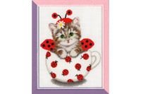 Kitten in the Cup Cross Stitch Kit by Golden Fleece