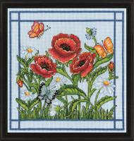 Poppies Cross Stitch Kit By Design Works