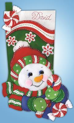 Snowman  Applique Felt Stocking Kit By Design Works