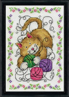Cat and Yarn Cross Stitch Kit By Design Works
