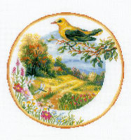 Plate with Oriole Cross Stitch Kit By Riolis