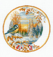 Plate with Bluetit Cross Stitch Kit By Riolis