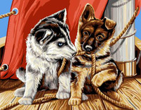 Les Chiots  Tapestry Canvas By Grafitec