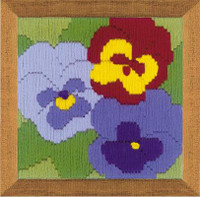 Three Pansies Longstitch By Riolis