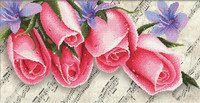 Pink Roses and Music No Count Cross Stitch Kit By Riolis