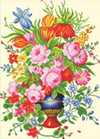Elegant Floral Arrangment No Count Cross Stitch Kit By Riolis