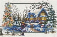 Winter Cottage No Count Cross Stitch Kit By Riolis