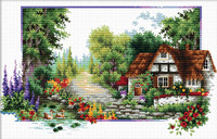 English Cottage stream No Count Cross Stitch Kit By Riolis