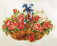 Basket of Roses No Count Cross Stitch Kit By Riolis