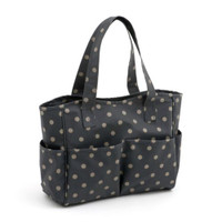 Matt PVC - Charcoal Polka Dot  Craft Bag By Hobby Gift