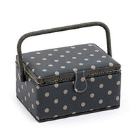 Rectangle - Matt PVC - Charcoal Polka Dot  Small Sewing Box By Hobby Gift