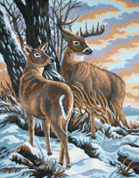 Stag and Doe Tapestry Canvas By Collection D'art