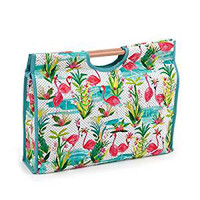 Flamingos  Craft Bag with Wooden Handles By Hobby Gift