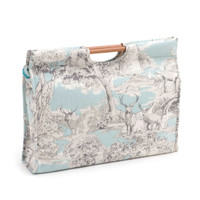 Manor Toile  Craft Bag with Wooden Handles By Hobby Gift