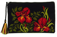 Irises Cosmetics Bag Cross Stitch Kit By Riolis