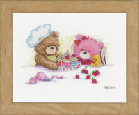 Counted Cross Stitch Kit: Popcorn & Brie Bear By Vervaco