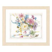 Flowers with White Pot Cross Stitch Kit By Lanarte