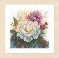 White Rose on Linen Cross Stitch Kit by Lanarte